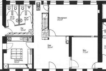 Raumplan Seminarraum mit separatem Eingang und eigenem Sanitärbereich